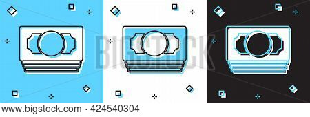 Set Stacks Paper Money Cash Icon Isolated On Blue And White, Black Background. Money Banknotes Stack