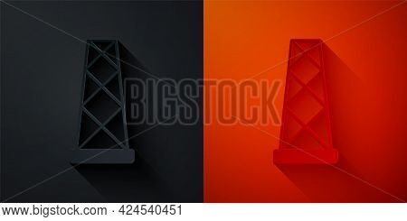 Paper Cut Antenna Icon Isolated On Black And Red Background. Radio Antenna Wireless. Technology And