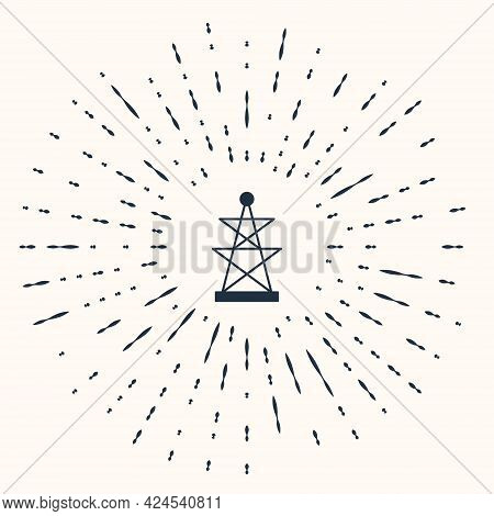 Grey Electric Tower Used To Support An Overhead Power Line Icon Isolated On Beige Background. High V
