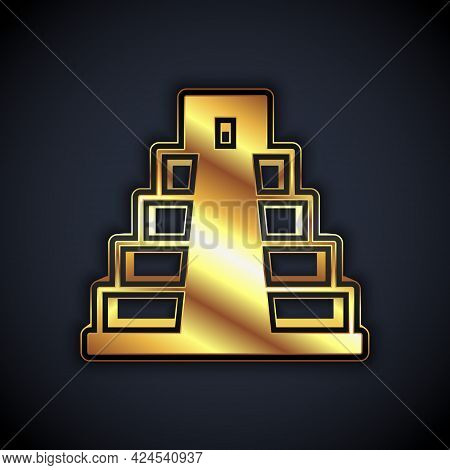 Gold Chichen Itza In Mayan Icon Isolated On Black Background. Ancient Mayan Pyramid. Famous Monument