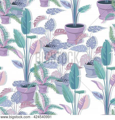 Houseplants Background. Monstera, Banana, Fern. House Plants Seamless Pattern. Trendy Home Decor.