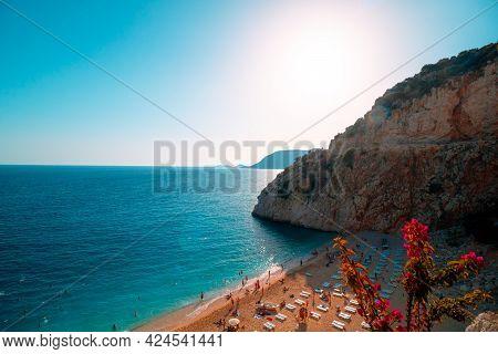 Antalya Turkey - 6.8.2021: Kaputas Beach In Turkey At Sunset. Kaputas Plaji. One Of The Most Beautif