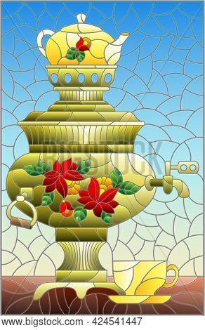 Illustration In The Style Of Stained Glass With A Bright Painted Samovar And A Cup On The Table On A