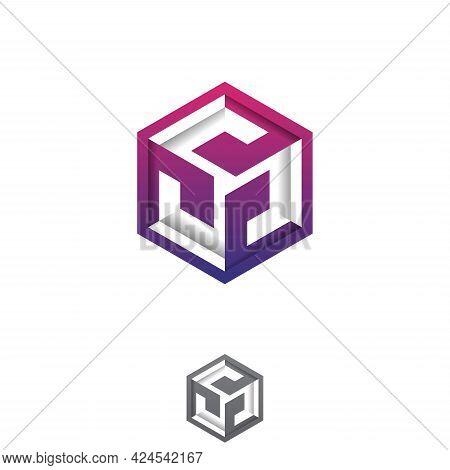 Abstract Colorful Hexagon Tech Vector Design. Flat Vector Symbol Design Illustration. Vector Illustr