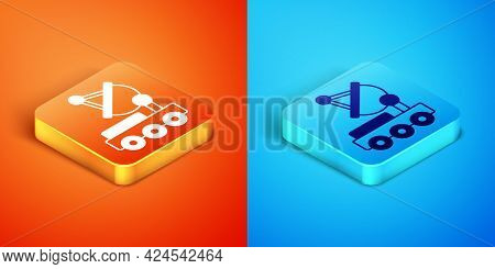Isometric Mars Rover Icon Isolated On Orange And Blue Background. Space Rover. Moonwalker Sign. Appa