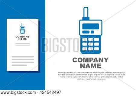 Blue Walkie Talkie Icon Isolated On White Background. Portable Radio Transmitter Icon. Radio Transce