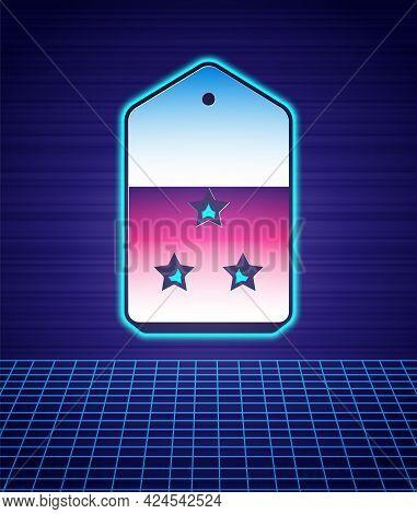 Retro Style Military Rank Icon Isolated Futuristic Landscape Background. Military Badge Sign. 80s Fa