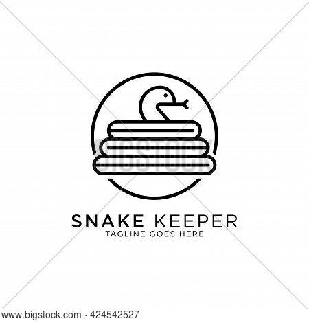 Snake Keeper Line Art Logo Design Vector, Best For Pet Or Animal Logo Inspirations