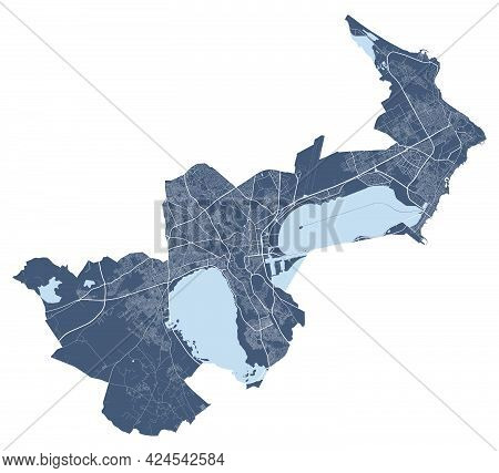 Tunis Map. Detailed Vector Map Of Tunis City Administrative Area. Cityscape Poster Metropolitan Aria