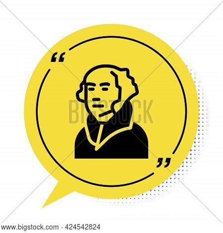 Black George Washington Icon Isolated On White Background. Yellow Speech Bubble Symbol. Vector