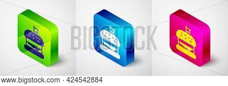 Isometric Burger Icon Isolated On Grey Background. Hamburger Icon. Cheeseburger Sandwich Sign. Fast
