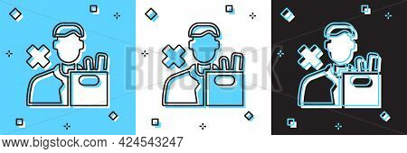 Set Dismissed Sad Young Man Carrying Box With His Personal Belonging Leaving His Job Icon Isolated O