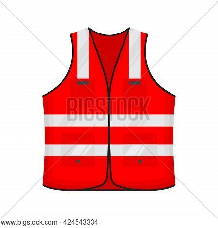 Safety Reflective Vest Icon Sign Flat Style Design Vector Illustration. Red Colored Fluorescent Secu