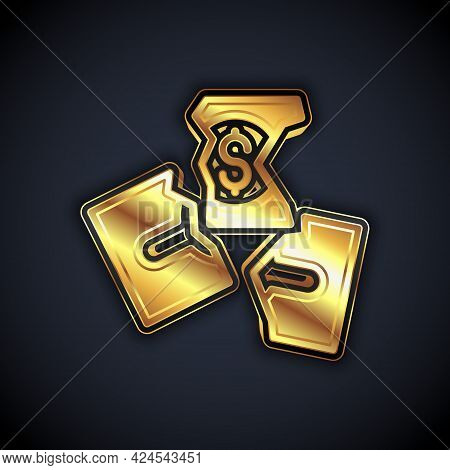 Gold Tearing Apart Money Banknote Into Three Peaces Icon Isolated On Black Background. Vector