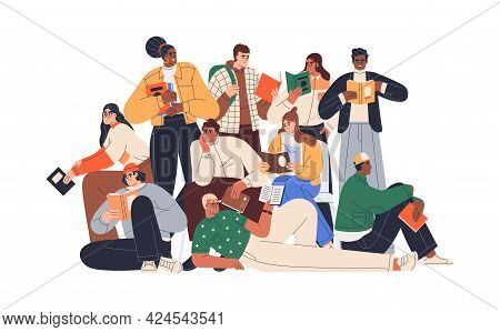 Young Modern People Reading Books Together. Crowd Of Readers. Group Portrait Of Multiracial Students