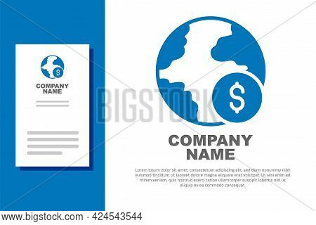 Blue Global Economic Crisis Icon Isolated On White Background. World Finance Crisis. Logo Design Tem