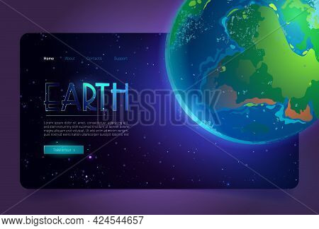 Earth Cartoon Landing Page, Planet In Universe Digital Concept With Glowing Sphere In Outer Space. E