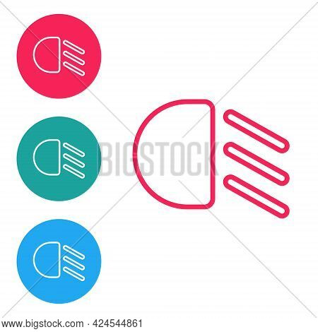 Red Line High Beam Icon Isolated On White Background. Car Headlight. Set Icons In Circle Buttons. Ve