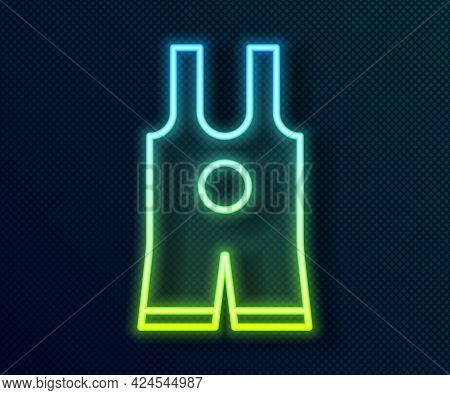 Glowing Neon Line Wrestling Singlet Icon Isolated On Black Background. Wrestling Tricot. Vector