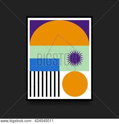 Geometric Colorful Poster In Swiss Style. Minimalistic Broadsheet. Scandinavian Graphic. Vector Illu