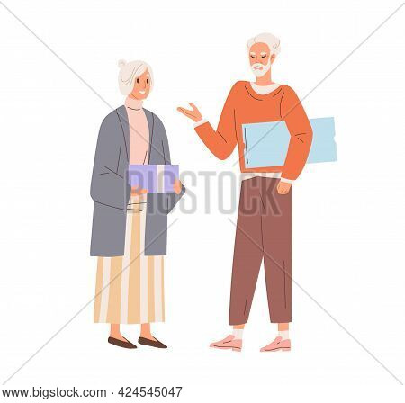 Senior Love Couple Exchanging Holiday Gifts. Aged Man And Woman Standing With Presents. Grandma And