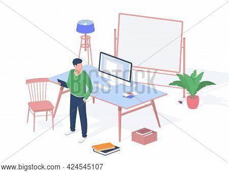 Guy With Tablet In Modern Classroom. Desktop Monoblock Computer And Scattered Piles Books Floor. Bla