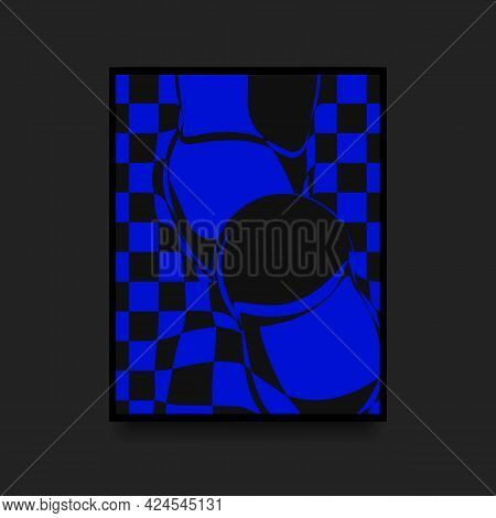 Abstract Fashionable Poster. Swiss Graphic. Blue And Black Distorted Squares. Vector Illustration