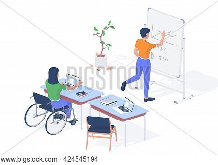 Working Teacher With Disabilities. Woman In Wheelchair With Laptop Giving Lecture. Student Near Blac