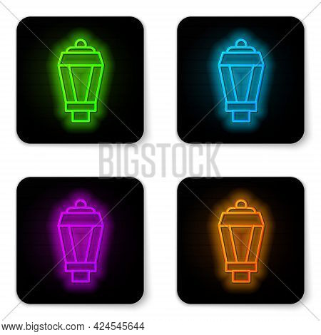 Glowing Neon Line Garden Light Lamp Icon Isolated On White Background. Solar Powered Lamp. Lantern.