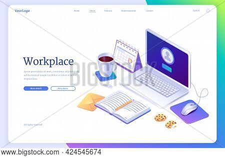 Workspace Isometric Landing Page, Work From Home, Domestic Office Concept. Freelancer Table With Lap