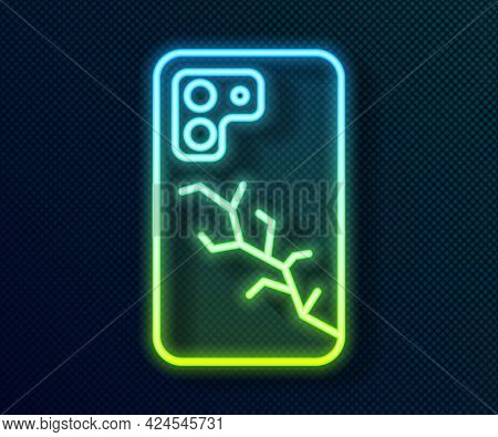 Glowing Neon Line Smartphone With Broken Screen Icon Isolated On Black Background. Shattered Phone S