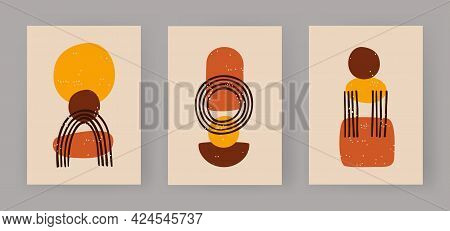 Abstract Trio Of Geometric Boho Figures. Minimalistic Balls And Sketch An Arch. Fashionable Primitiv