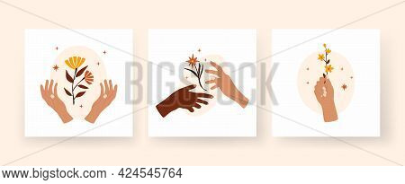 Abstract Hands Holding Twigs With Flowers. Boho Composition Of Yellow Terracotta Petals In Palms. Na