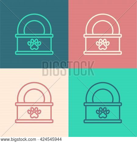 Pop Art Line Canned Food Icon Isolated On Color Background. Food For Animals. Pet Food Can. Vector