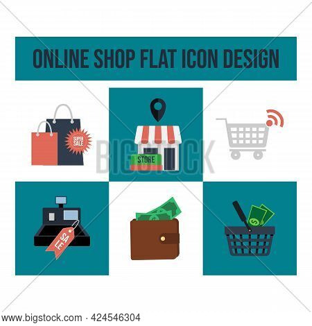 E-commerce And Shopping Online Icons. Flat Design Collection. Vector Creative Of E-business Process