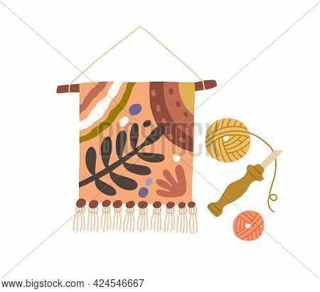 Gobelin Tapestry Hanging On Stick. Traditional Art Of Embroidered Textile. Fancywork On Fabric. Mode
