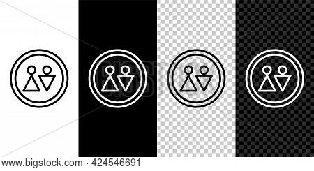 Set Line Toilet Icon Isolated On Black And White, Transparent Background. Wc Sign. Washroom. Vector