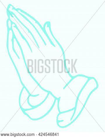 Sketch Of Praying Or Doing Namaste Hands Outline Editable Illustration
