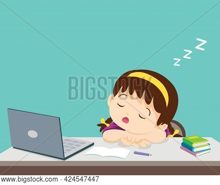 Child Girl Bored Of Studying Sleeps In Front Of The Laptop. Concept Of Tired Kid From Home E-learnin
