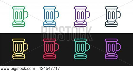 Set Line Medieval Goblet Icon Isolated On Black And White Background. Vector