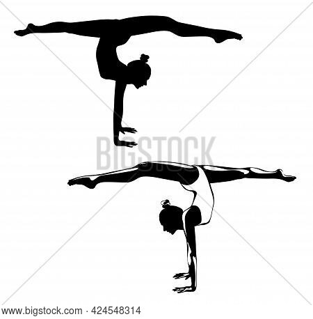 Black And White Image Of A Gymnast Performing An Exercise Vector Illustration