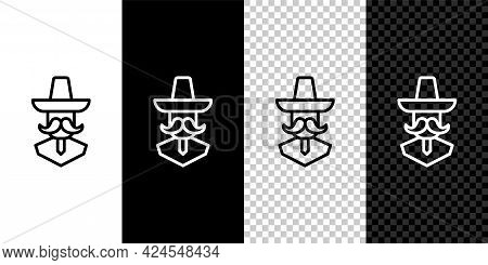 Set Line Mexican Man Wearing Sombrero Icon Isolated On Black And White, Transparent Background. Hisp