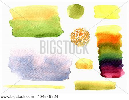 Watercolor Brush Stain Set, Water Color Stain On White Paper Texture
