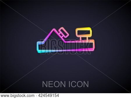 Glowing Neon Line Wood Plane Tool For Woodworker Hand Crafted Icon Isolated On Black Background. Joi