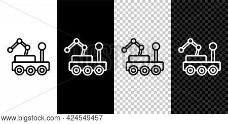 Set Line Mars Rover Icon Isolated On Black And White, Transparent Background. Space Rover. Moonwalke