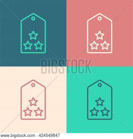 Pop Art Line Military Rank Icon Isolated On Color Background. Military Badge Sign. Vector