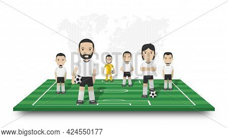 Soccer Players Team Stand On Perspective Football Field . Dotted World Map On White Isolated Backgro
