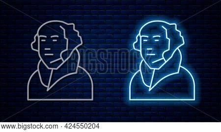 Glowing Neon Line George Washington Icon Isolated On Brick Wall Background. Vector