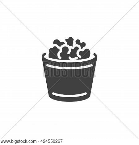 Popcorn Box Vector Icon. Filled Flat Sign For Mobile Concept And Web Design. Popcorn Basket Glyph Ic
