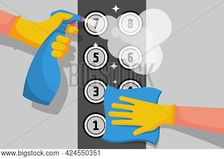 Cleaner Disinfects Lift Buttons. Hygiene Public Space. Spraying Antibacterial Sanitizing Spray. Poll